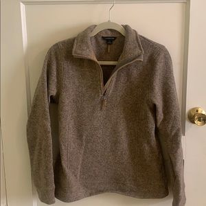 Lands End Brown 3/4 Zip Pullover Sweater